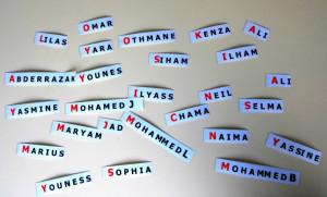 étiquettes prénoms accueil